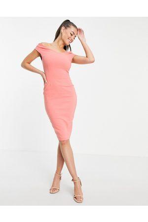 Vesper Bardot pencil midi dress in coral