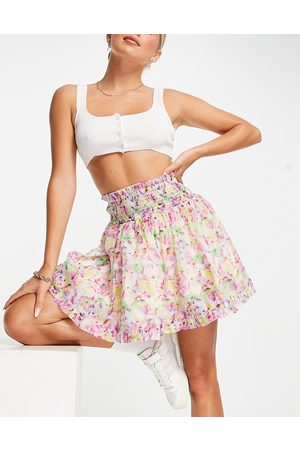 Lost Ink Mini skirt with shirred waist in watercolour floral organza