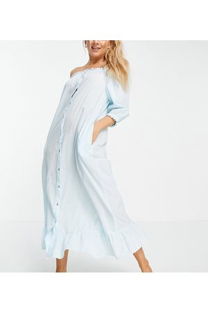 Y.A.S Exclusive sleep dress with frill hem in blue