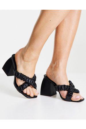 Public Desire Elsa cross strap heeled mules in black