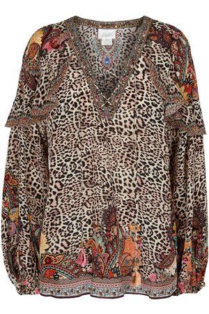 Camilla Embellished leopard-print silk blouse