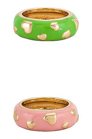 8 Other Reasons Anillo gold heart en color verde, rosa talla all en - Green,Pink. Talla all.