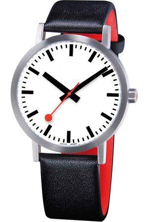 Mondaine Reloj Classic Pure 40 mm White / Black Leather / Red Lining