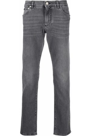 Dolce & Gabbana Hombre Rectos - Jeans rectos con placa del logo