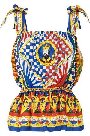 Dolce & Gabbana Blusa con peplum y estampado Carretto