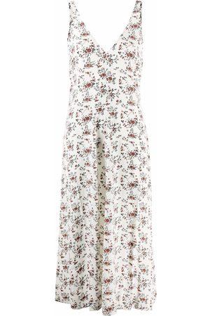 GANNI Vestido midi sin mangas con motivo floral