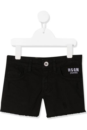 Msgm Shorts de mezclilla con logo bordado