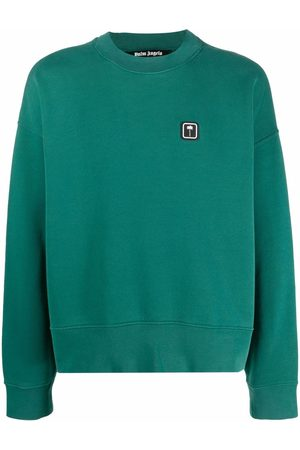 Palm Angels Sudaderas - PXP PALM CREW FOREST GREEN WHITE