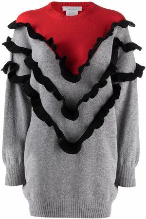 Serafini Ruffled crew neck sweatshirt