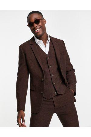ASOS Super skinny wool mix suit jacket in dark brown tweed