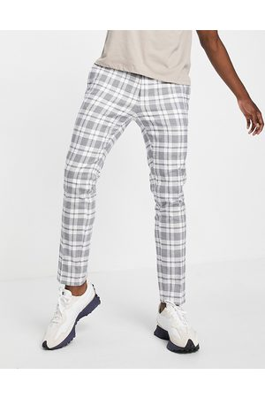 River Island Check trousers navy and burgandy