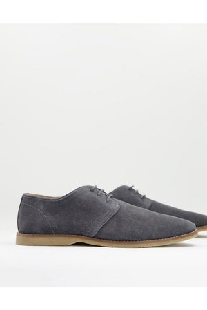 ASOS Derby shoes in grey suede with piped edging
