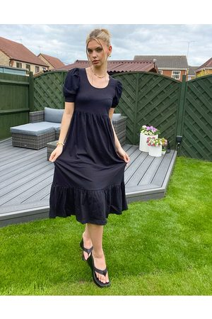 ONLY Tea dress with puff sleeve in black