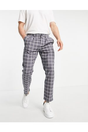 ASOS Cigarette trouser with pleats in grey check