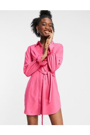 In The Style X Billie Faiers drape shirt dress with tie front detail in pink