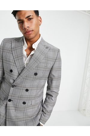 SELECTED Skinny fit suit jacket in white check