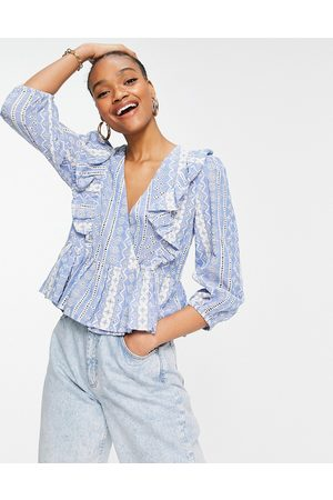 Y.A.S Peplum wrap front blouse in blue