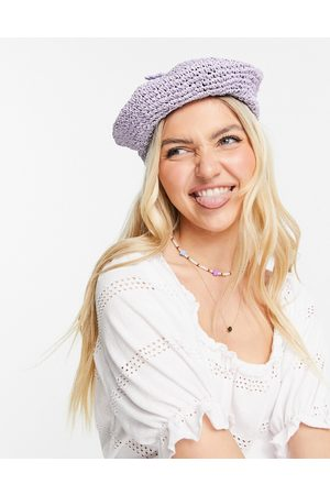 My Accessories London lilac beret in crochet