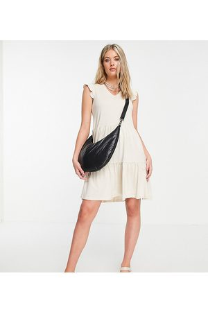ONLY Tiered skater mini dress in grey