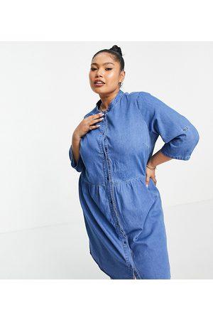 ONLY Denim mini shirt dress with grandad collar in light blue wash