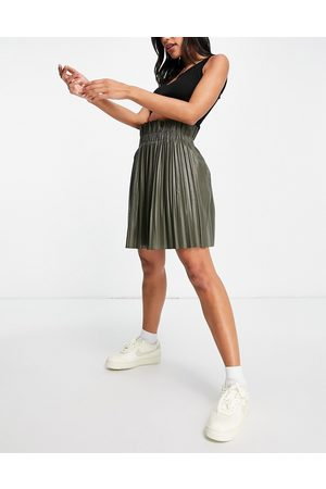 I saw it first Mujer Minifaldas - Pleated PU skirt in khaki