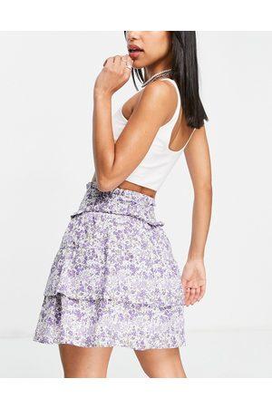 VIOLET ROMANCE Cotton tiered mini skirt co