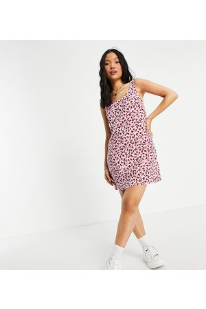 Pieces Exclusive mini shift dress in pink butterfly print