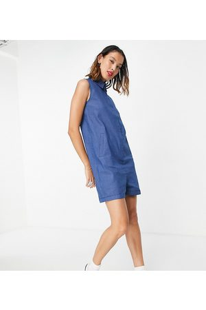 Noisy May Exclusive denim romper playsuit in blue