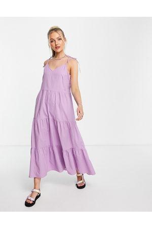 Pieces Poplin tiered maxi dress in lilac