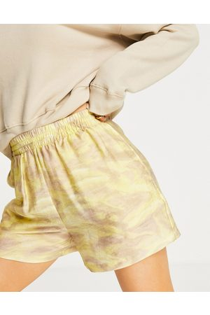 & OTHER STORIES Organic cotton water colour printed high waist shorts in multi