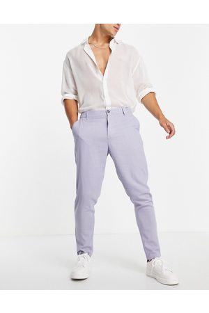 ASOS Linen mix tapered trousers in pastel blue
