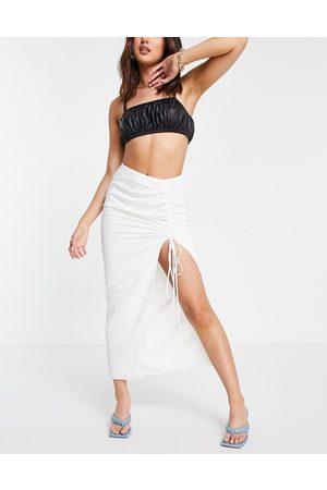 Pretty Lavish Ruched drawstring slip midi skirt in white
