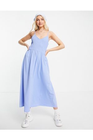 Pieces Cami shirred maxi dress in blue