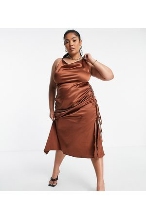 PUBLIC X Amber Gill satin strappy cami midi dress with ruched side detail in chocolate