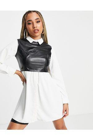 NaaNaa 2 in 1 shirt with PU vest in black
