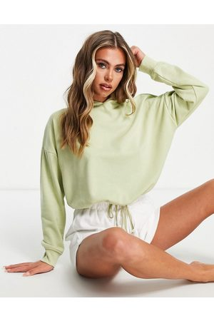 Hunkemöller POP recycled cotton lounge cropped hoodie in khaki