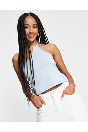 Weekday Amity organic cotton one shoulder halter top in dusty blue