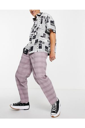 ASOS Oversized tapered smart trousers in lilac linen check