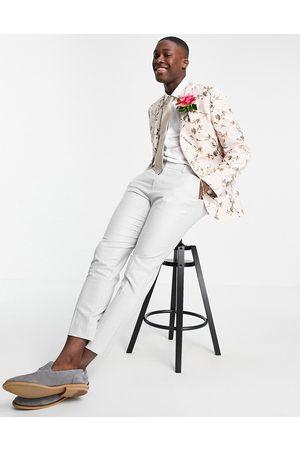 ASOS Wedding skinny suit jacket in neutral floral print