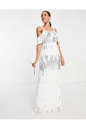Virgos Bridal embellished cold shoulder dress in white