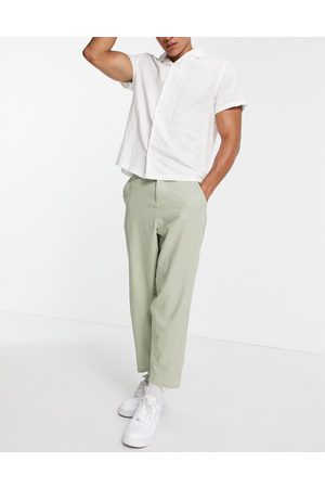 ASOS DESIGN Linen mix oversized tapered trousers in sage green