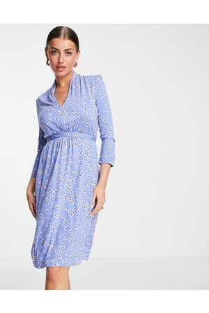 French Connection Eloise tie waist printed jersey dress in blue