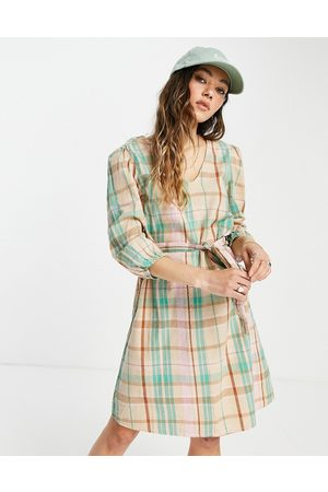 Only Mini smock dress with volume sleeve and tie waist in mint check