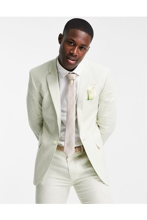 ASOS DESIGN Wedding linen super skinny suit jacket with puppytooth check in green