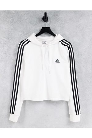adidas performance Adidas Training cropped hoodie with three stripes in white