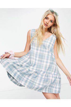 Daisy Street Sleeveless mini smock dress in vintage check