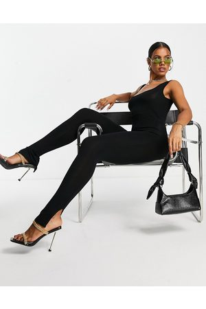 I Saw It First Square neck jersey jumpsuit in black
