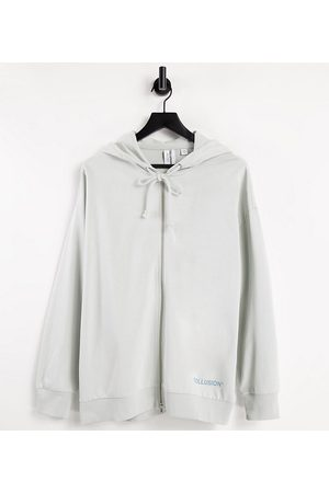 Collusion Zip through oversized hoodie with brand print in blue co