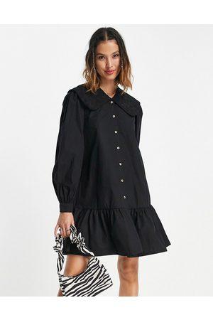 Vila Oversized collar smock dress in black