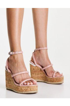 Schuh Valentina wedge espadrille sandals in blush croc